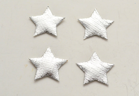 6 pc Silver Star Shiny Fabric Patch Applique SS42617