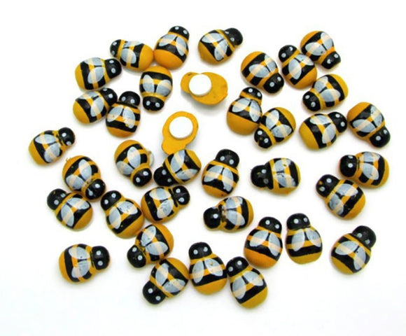 20 PC Miniature Wooden Yellow Black Bees Adhesive Backing Easy Apply Embellishments Craft DIY WB1208
