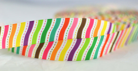 Rainbow Lines Pattern Colorful Printed Grosgrain Ribbon 7/8