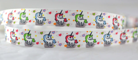 "Unicorn Colorful Mini Printed Grosgrain Ribbon 5/8"" or 7/8"" wide UC1015"