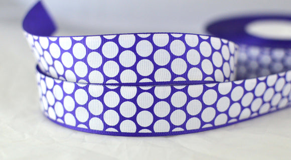 Purple With White Polka Dots Satin Ribbon 1
