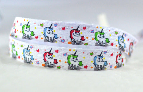 "Rainbow Mythical Unicorn Print FOE Ribbon  5/8"" wide RM1015"