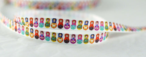 "Colorful Russian Matryoshka Nesting Dolls Grosgrain Ribbon 3/8"" Wide Scrapbooking HairBows Parties DIY Projects CR1015"