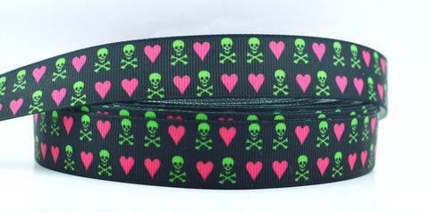 "Green Cross bones Pink Heart Grosgrain Ribbons 7/8"" Scrapbooking HairBows GC012018"