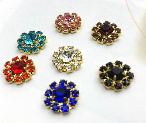 2PC Rhinestone Metal Charm Centers - Flower Colors - Flatback Gold Tone embellishments Bridal Floral Jewels 12mm