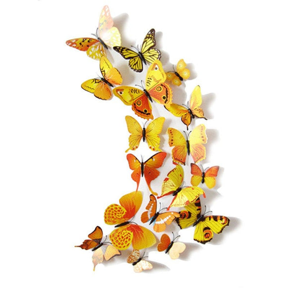 12Pc 3D PVC Butterflies Wall Stickers Decoration Wedding Cake Toppers Home Decor School Craft DIY  - Yellow Shades