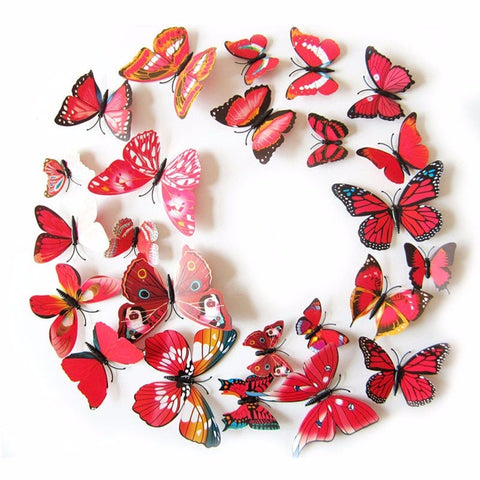 12Pc 3D PVC Butterflies Wall Stickers Decoration Wedding Cake Toppers Home Decor School Craft DIY Red Shade RD704