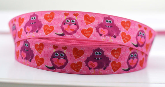 10YD Monsters Conversation Hearts Pink Love Grosgrain Ribbons 1