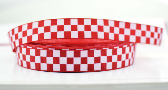 Red and White Checkered Pattern Grosgrain Ribbon 7/8