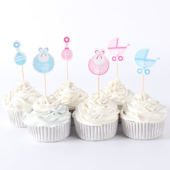 18 PC Pink Light Blue Baby Reveal Gender Cupcake Toppers Dessert Party Supplies Theme Decorations PLU040118
