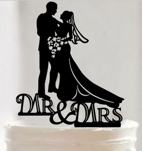 MR. and MRS. cake topper wedding cake Plastic Acrylic Romantic Couple Silhouette Bridal MM040218