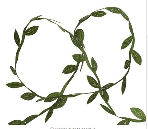 "3 yd Olive Green Leaves Trim Ribbon Leaves Polyester Vine 1/4"" Wide 1m040218"