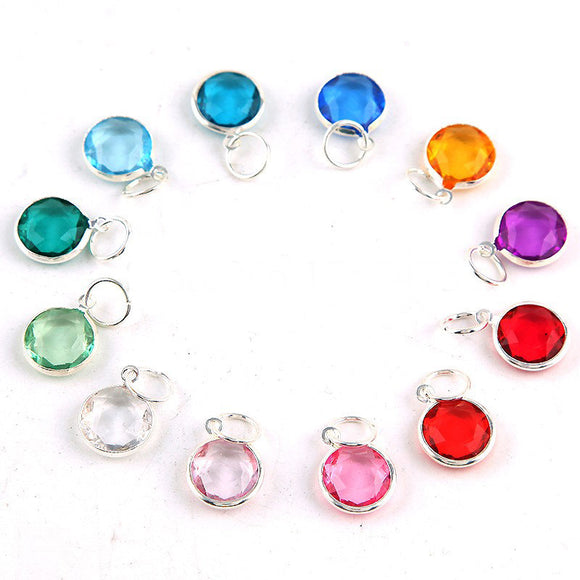 12 pcs Birthstone Metal Colored Clear Silver Plated  Charms Pendants 12 mm Acrylic Necklace and Bracelet BS0503