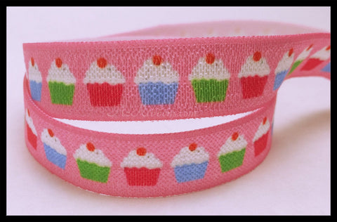 "Cupcakes Pink Colorful Baked Goods Sweet Print FOE Ribbon  5/8"" Hair Bow , Accessories AZ394"