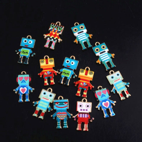 Robots Designs Mixed Colors Enamel Pendant Charms Alloy Jewelry Making Supplies CD0613