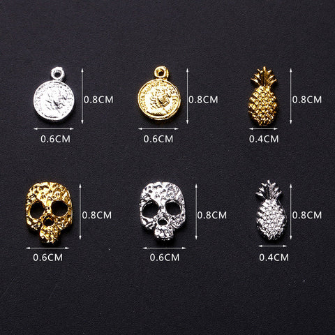 Skull Pineapple Pistol Nail Art Tiny Metal Hollow Stud  Design Charms Cell Decoration 50PC
