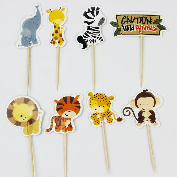 Caution Wild Animals Jungle Party Supplies Cardboard Cupcake Toppers - 8 assorted Designs with wooden sticks CW100318