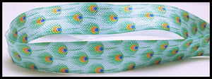 "Blue Turquoise Peacock Feather Design Green Print FOE Ribbon  5/8"" Hair Bow AZ395"