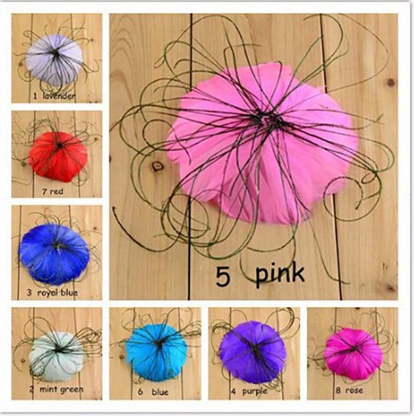 1 PC Round Feathers Colored gathered Head band Accessories Hair Bows Parties DIY Projects