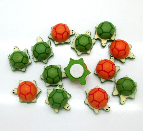 Turtles Brown and Green Shell Wooden Tortoises Adhesive Scrap Book Craft TB041218