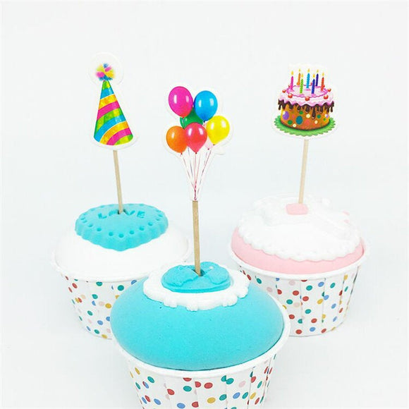 18pcs Balloon hat Cupcake Toppers Picks Birthday Party Decoration Kids Supplies Cardboard  - 3 assorted Designs with wooden sticks BH0609