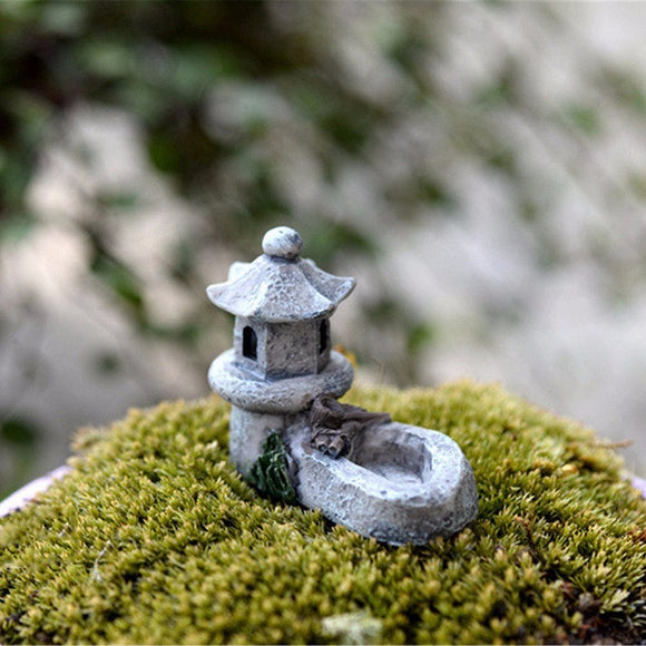 Gray Tower with Pond Japanese Tiny Miniature GT010518