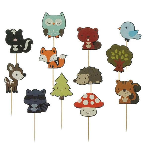 12 pc Wild Animals Woods Creatures Party Supplies Cardboard Cupcake Toppers - 12 assorted Designs with toothpicks WA071418