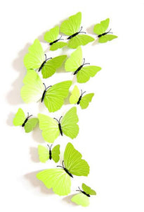 12Pc 3D PVC Butterflies Wall Stickers Decoration Wedding Cake Toppers Home Decor School Craft DIY  - Lime Green