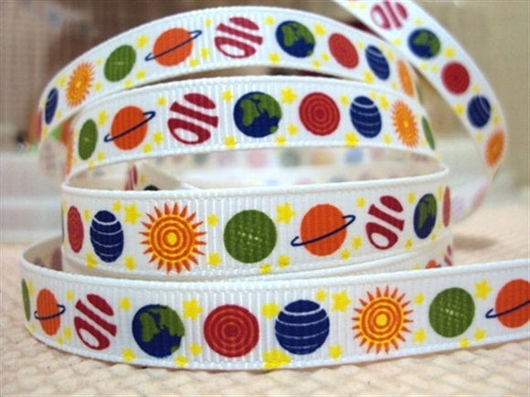 colorful planets assorted Printed Grosgrain Ribbon 5/8