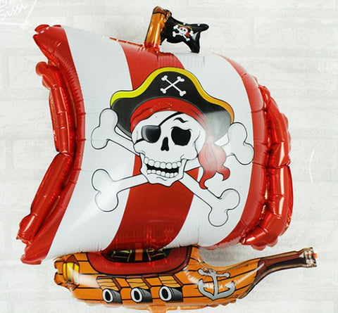 Large Pirate Boat Ship Cross and Bones Foil birthday Balloon Party Supplies Decoration Celebration LP071618