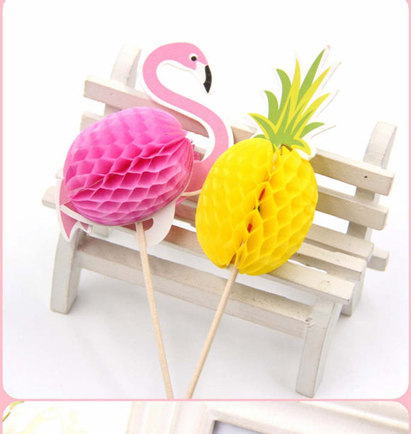 10 pc Pineapples Flamingos Party Supplies Cardboard Cupcake Toppers PF530