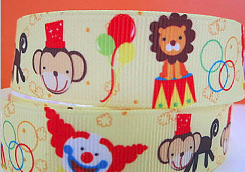 "Yellow Happy Circus Animals Print Grosgrain Ribbon 7/8"" Wide Monkey Lion Act Festival Balloons Entertainment Fun az 171"