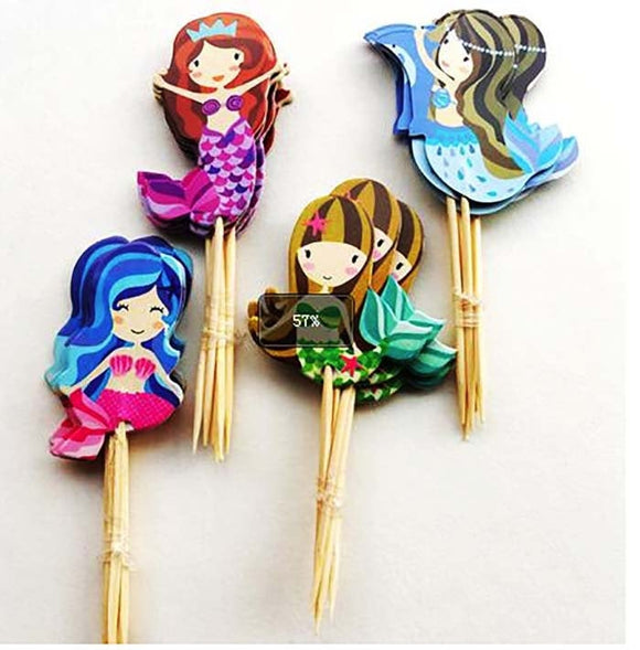 24 pc Mermaid Sea Ocean  Party Supplies Cardboard Cupcake Toppers - 4 assorted Designs with wooden sticks MS0530
