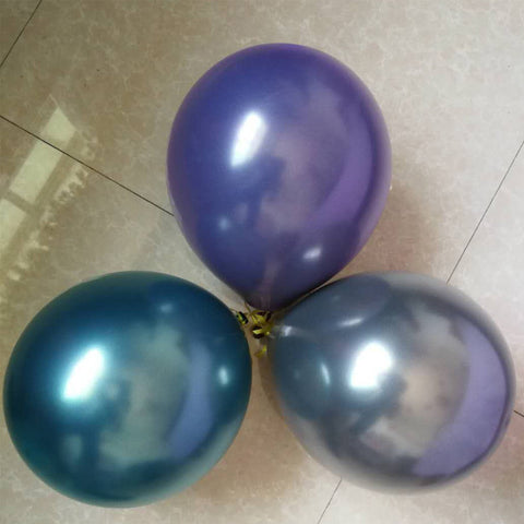 "10 PC Balloons 11"" Metallic Chrome Colored Latex Party Supplies Decoration Assorted Colors MB080918"