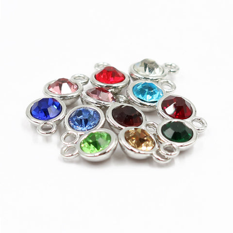 12 pcs Birthstone Metal Colored Clear Charms Pendants 5 mm Acrylic Necklace and Bracelet BM080918