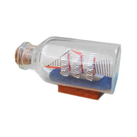 Miniatures Mediterranean Style Mini Sailing Boat Drift Bottle Charm Small Cork Glass Home Decor
