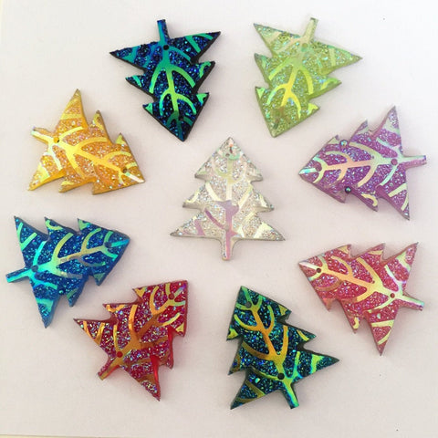 10 PC Multi colored Christmas Plastic Glitter Tree Buttons Variety 2 Hole Pieces Scrap Book Craft mc062818