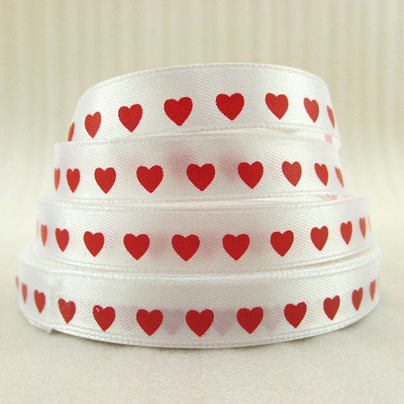 10YD Red Heart satin ribbon printed polyester 1/2