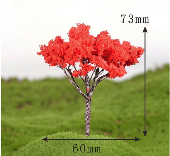 Red Fluffy Miniature Tree Garden Plants Terrarium Doll House Ornament Fairy Decoration WT082418