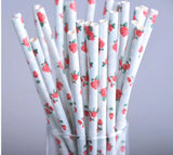 25 pack Light Blue Floral Rose Paper Straws LB082418