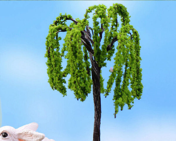 Bright Green Weeping Willow Miniature Tree Garden Plants Terrarium Doll House Ornament Fairy Decoration  WW0420
