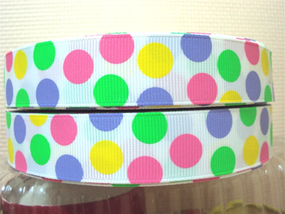 Pastel Colored Assorted Polka Dots 7/8