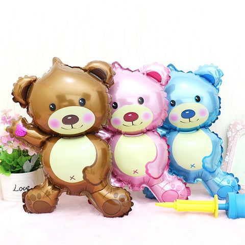 "Large Teddy Bear Foil 16"" birthday Balloon Party Supplies Decoration Celebration LT071618 Blue Pink Brown"