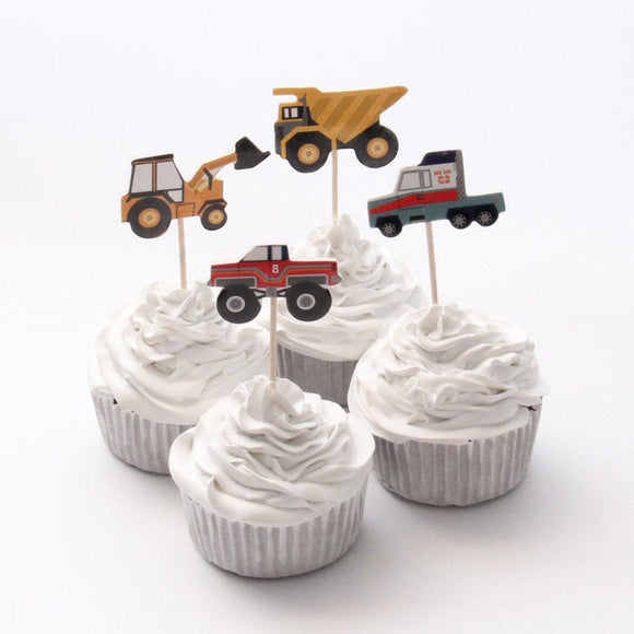 24 PC Construction Vehicles Cars Tractor Colored Variety Assorted Cupcake Toppers Dessert Party Supplies Theme Decorations CV071618