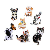 7 PC Cat Dog Bunny Embroidered Iron On Patch Applique CD080218