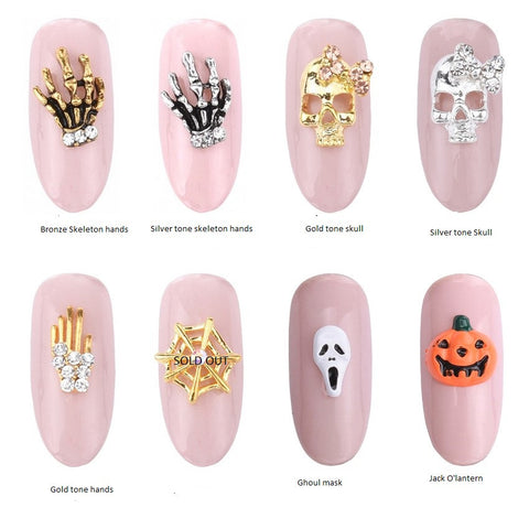 4 PC Halloween 3D Decoration Nail Art Phone Charm Tiny Metal Rhinestone Cabochon NA092018