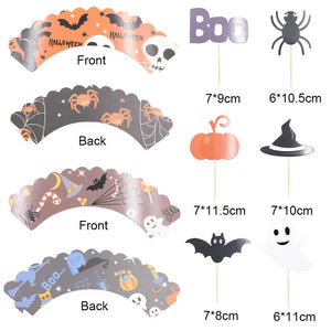 24PC Halloween theme Bats Pumpkin Ghosts Spider Boo Cupcake wrap and Toppers Dessert Party Supplies Theme Decorations HT080918