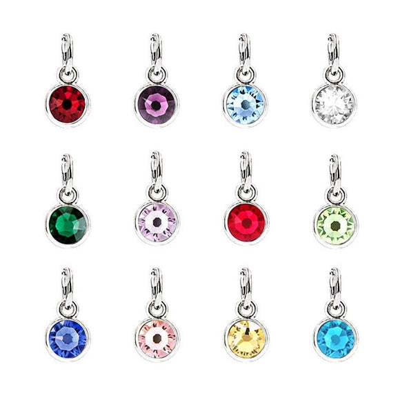 12 pcs Birthstone Metal Colored Clear Charms with Ring Pendants 5mm Acrylic Necklace and Bracelet BJ080918