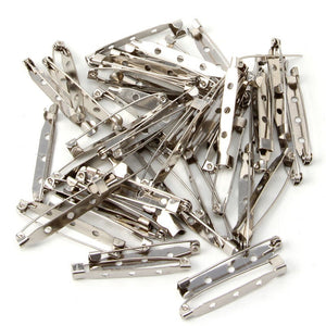 50 PC Brooch Pins Blank Silver tone Metal Pin Base Projects BP100418 20mm 25mm 30mm