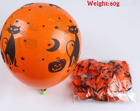 "10 PC Halloween Latex 10"" Balloons Decoration Skulls Mixed Happy Holidays Orange Black Party HL091318"
